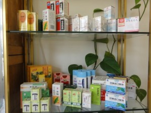 Shelf with traditional Chinese medicines