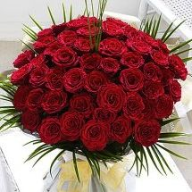 50 red hand-tied roses