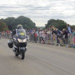 Police escort for the leaders of the race