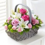 Pink and white floral basket