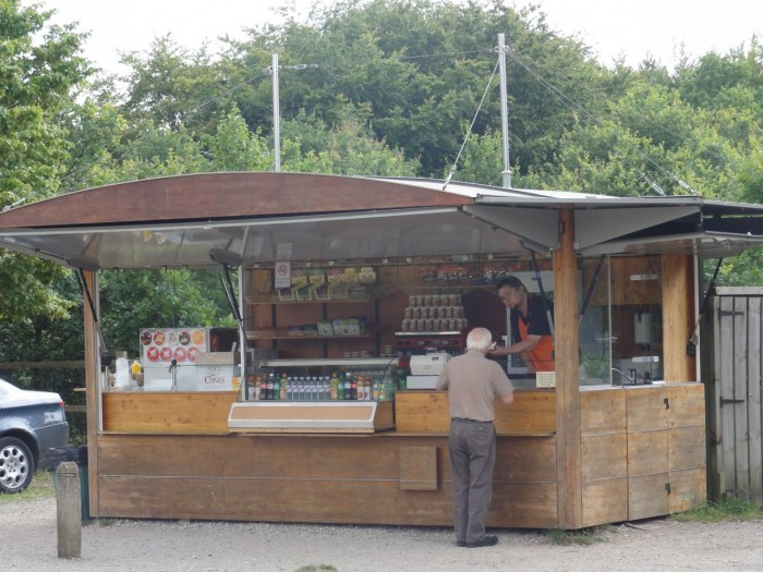 Isabella cafe kiosk with man being served