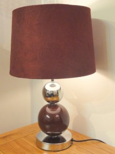 Red lamp to go with chocolate leather sofa