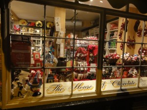 My Sheen Village - Shopping in Richmond - House of Chocolate - night time window