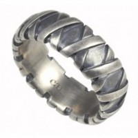 Sterling silver patterned ring - gift ideas for men - my sheen village